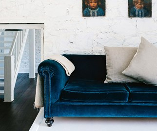 Velvet blue chesterfield lounge