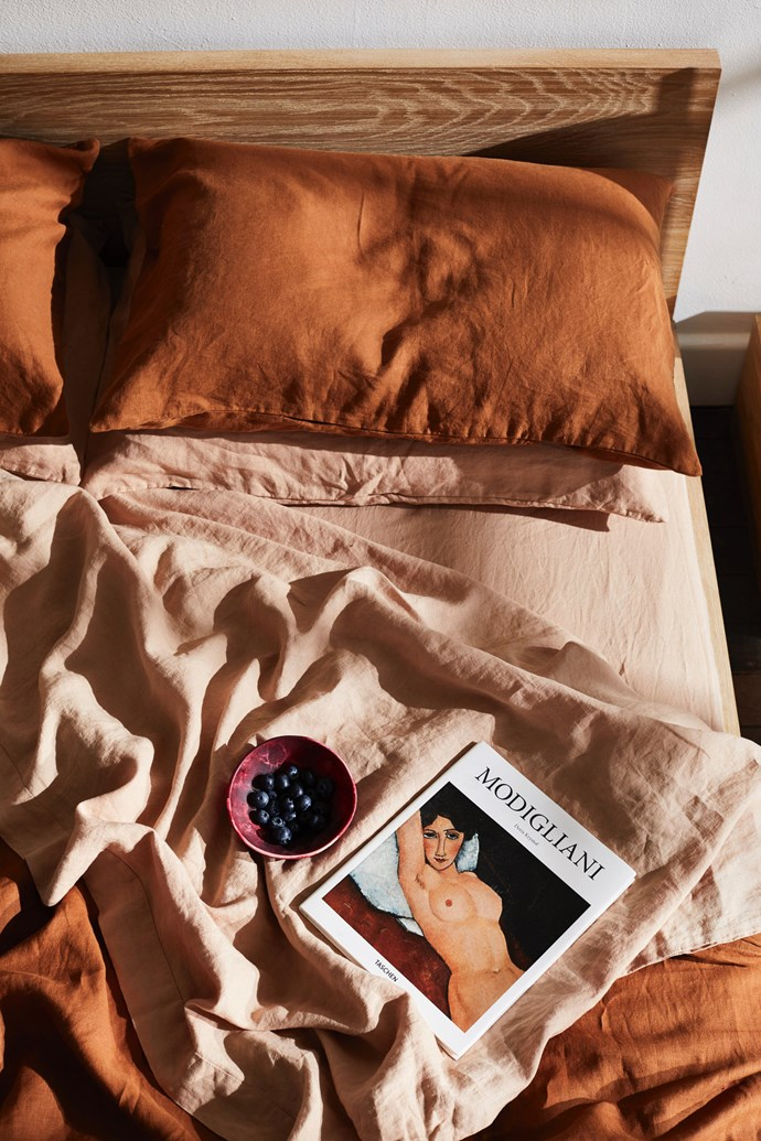 """100% Flax Linen Sheets in 'Rust' and 'Terracotta' from [Bed Threads](https://bedthreads.com.au/product-category/sheet-sets/