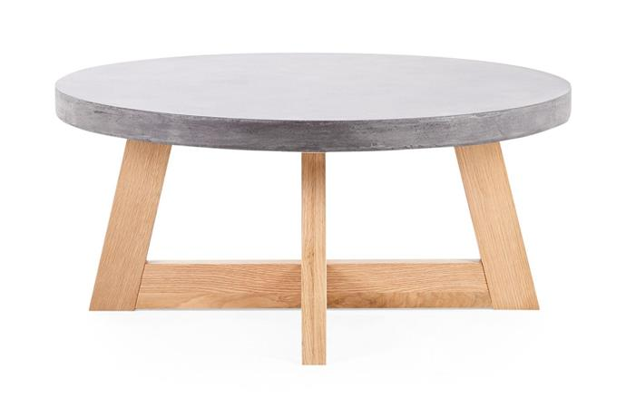 "Marina Round Coffee Table, $399, [Lounge Lovers](https://www.loungelovers.com.au/marina-round-concrete-coffee-table-dark-grey|target=""_blank""
