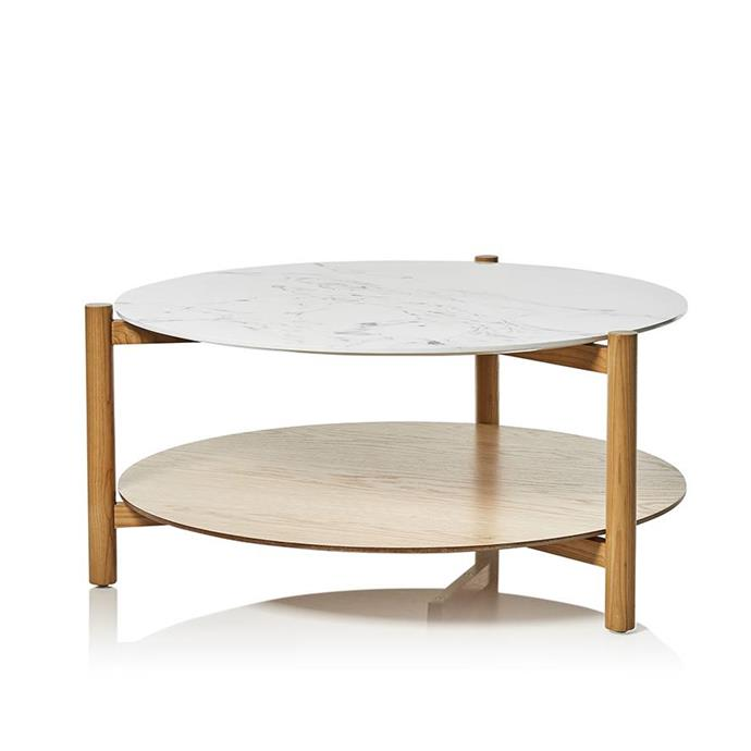 "**Mercer + Reid Camilla Collection Coffee Table in Marble & Ash, $299, [Adairs](https://www.adairs.com.au/furniture/tables/mercer-reid/camilla-collection-coffee-table-marble--ash/|target=""_blank""