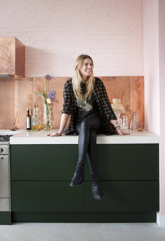"**Kitchen** An enticing combo of copper, green and pink dominates Erika Vocking's kitchen. ""It was exciting to [paint the brick](https://www.homestolove.com.au/painted-brick-home-exterior-6695