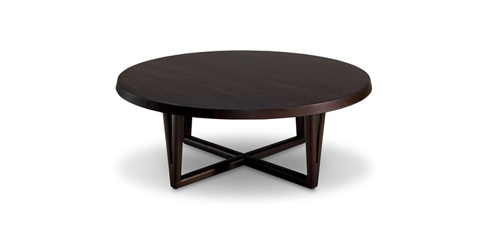 "Aspen round coffee table, $1490, in Smoked oak, from [King Living](https://www.kingliving.com.au/furniture/coffee-table-side-table/aspen-coffee-table-round|target=""_blank""
