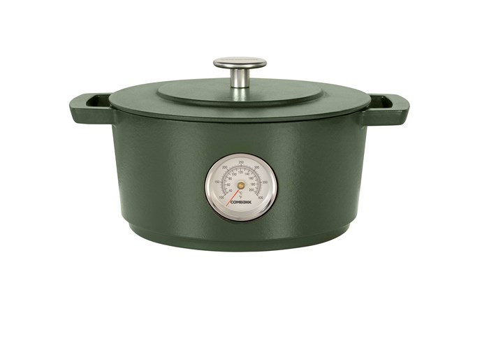 "This high-quality enamelled cast iron cookware is made from 100 per cent recycled iron.  <br><br> Combekk Dutch Oven with Thermometer in Green (28cm), $699.95, [David Jones](https://www.davidjones.com/brand/combekk/21895884/COMBEKK-Dutch-Oven-with-Thermometer-28cm-Green.html|target=""_blank""