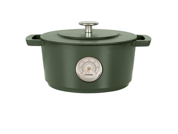 """This high-quality enamelled cast iron cookware is made from 100 per cent recycled iron.  <br><br> Combekk Dutch Oven with Thermometer in Green (28cm), $699.95, [David Jones](https://www.davidjones.com/brand/combekk/21895884/COMBEKK-Dutch-Oven-with-Thermometer-28cm-Green.html