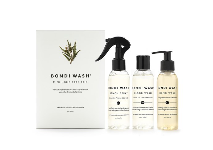 "Ditch chemical-laden cleaning products in favour of these natural, Australian-made solutions infused with native botanicals. <br><br> Mini Home Care Trio: Bench spray, Hand Wash and Floor Wash (3 x 125ml), $30, [Bondi Wash](https://bondiwash.com.au/products/mini-home-care-trio|target=""_blank""