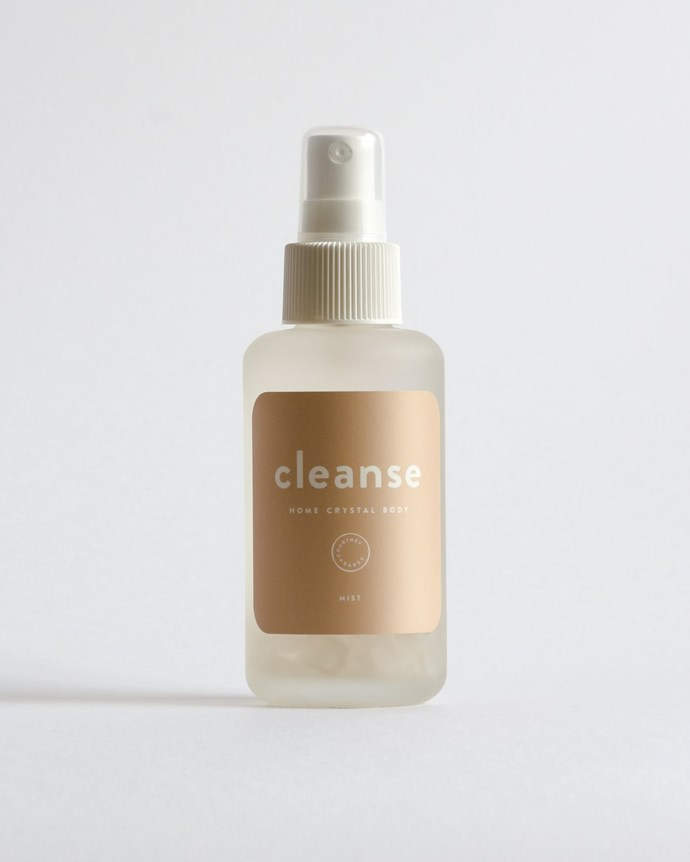 "Clear the air with this crystal infused elixir for purity and protection of home and body. ""With clear quartz - the master healer. Hints of lemon, lavender and juniper berry essential oils aid in elevating energy."" <br><br> ""Cleanse"" room spray, $40, [Courtney + Babes](https://courtneyandthebabes.com/products/cleanse-tester