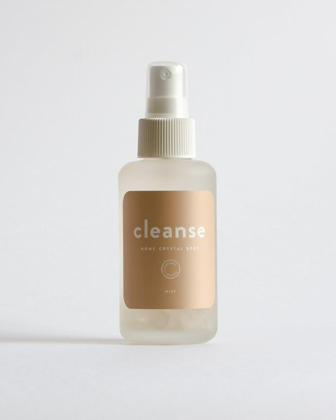 "Clear the air with this crystal infused elixir for purity and protection of home and body. ""With clear quartz - the master healer. Hints of lemon, lavender and juniper berry essential oils aid in elevating energy."" ""Cleanse"" room spray, $40, [Courtney + Babes](https://courtneyandthebabes.com/products/cleanse-tester