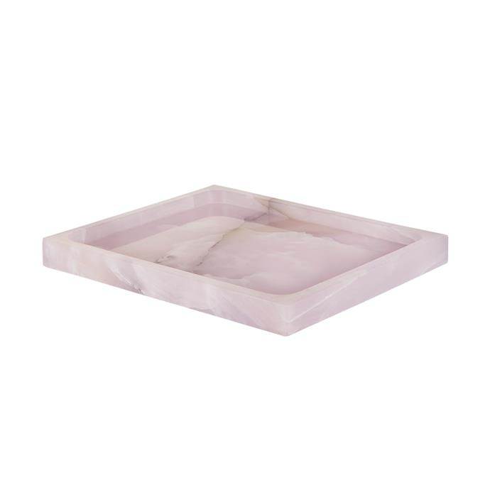 """Onyx stone is believed to contain healing properties that soothe stress. In that case, we'll take one for our work desk and one for our coffee table, please! <br><br> Coco Republic Callisto Pink Onyx Tray, $295, [Coco Republic](https://www.cocorepublic.com.au/catalog/product/view/id/9418/s/callisto-pink-onyx-tray/