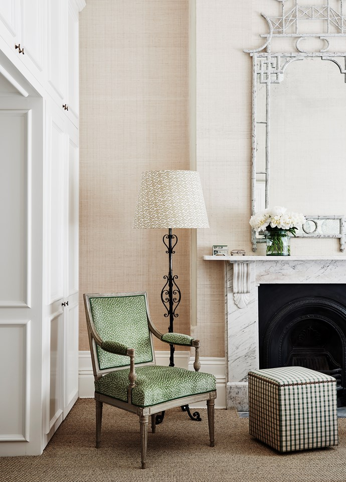 Barely touched since the 1800s, this handsome Victorian house has a newfound sense of lightness thanks to a robust renovation by Adelaide Bragg. Seagrass wallpapers from Thibaut. Lampshade in Galbraith & Paul fabric. Armchair from Brownlow Interior Design in Colefax and Fowler fabric. *Photograph*: Lisa Cohen. From *Belle* October 2018.