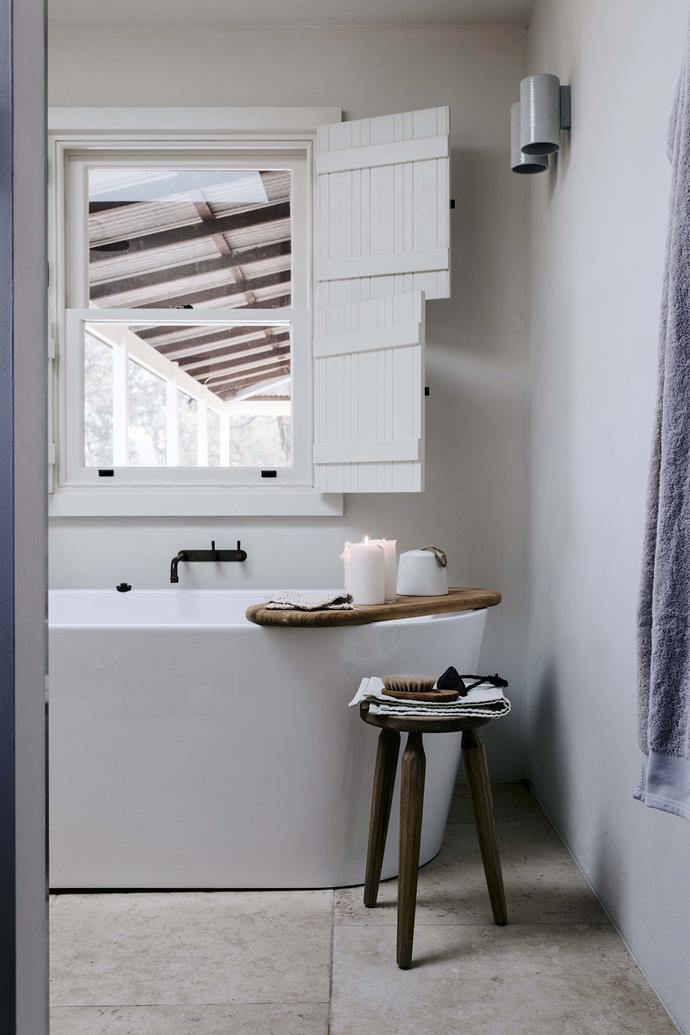 "Felicity Slattery of [Studio Esteta](https://www.homestolove.com.au/emerging-interior-design-stars-studio-esteta-6789|target=""_blank"") completed the interior renovation, including enlarging the bathroom for the must-have bath. The talented builders from Pirie Homes custom-made the shutters, which were inspired by a holiday Edwina took to Greece."