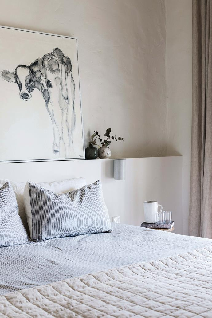 "Above the bed is an artwork by Vayu. Edwina spent many years living in Japan and Malaysia, and Japanese ceramics are dotted throughout the home. For similar homewares, try [Made in Japan](https://mij.com.au/|target=""_blank""
