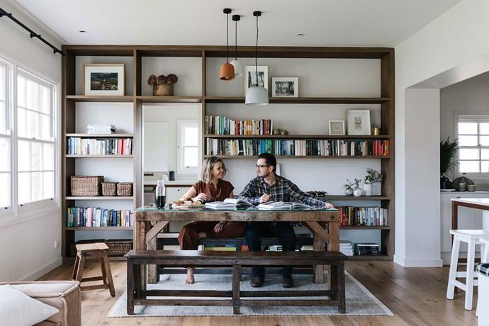 "Edwina and Neil's timber bookshelf was built by [Pirie Homes](https://piriehomes.com.au/ target=""_blank"" rel=""nofollow"")."