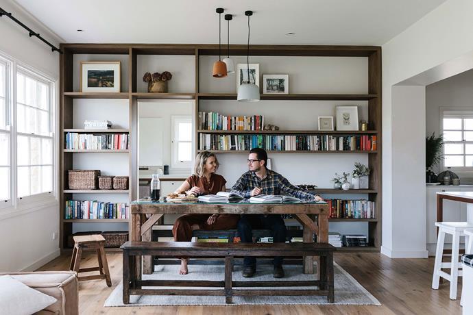 "Edwina and Neil's timber bookshelf was built by [Pirie Homes](https://piriehomes.com.au/|target=""_blank""|rel=""nofollow"")."