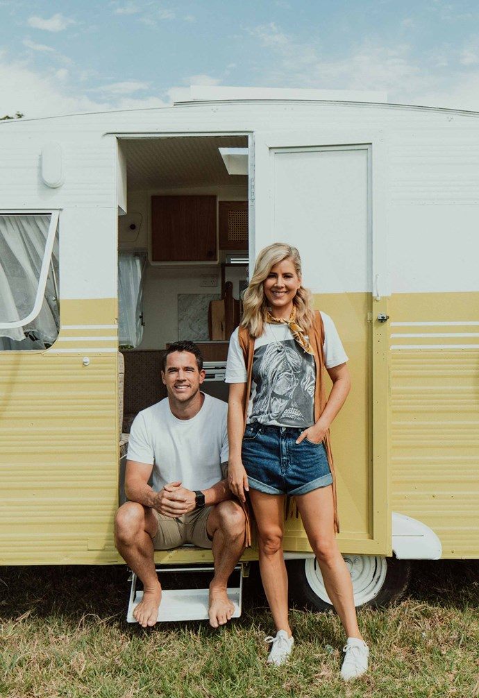 """Michael and Carlene's [fourth caravan renovation Bumblebee](https://www.homestolove.com.au/michael-and-carlene-retro-caravan-bumblebee-19861