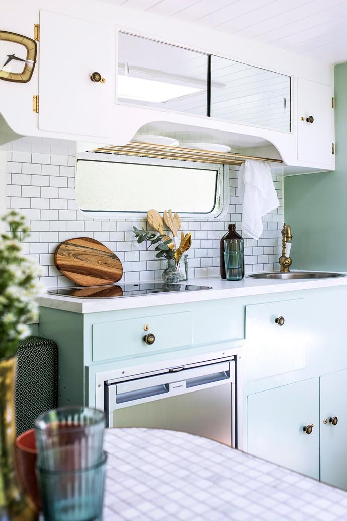 "Simple subway tiles and a seafoam green palette add a sophisticated touch to [Vonnie the Van](https://www.homestolove.com.au/inside-michael-and-carlenes-holiday-home-transformation-18527|target=""_blank"")."
