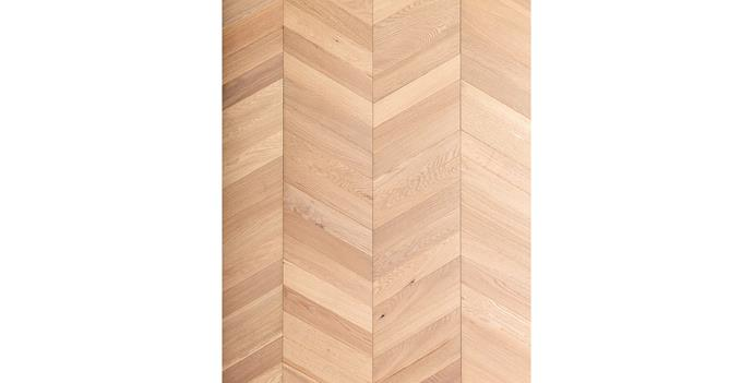 "'Architect Collection' White Smoked Chevron engineered-timber panels (305x1672mm), $164/m² (supply only) <p> This patterned chevron flooring features a layer of European oak on an engineered base for improved stability. It comes in panel form so you can install it with minimal time and fuss. [Royal Oak Floors](https://royaloakfloors.com.au/|target=""_blank""