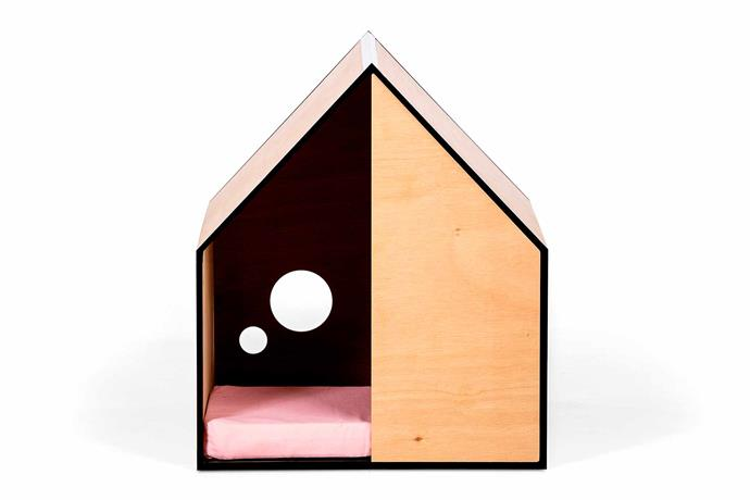 "'The Dog Room' plywood kennel in Musk Pink, $429, [StyleDog](https://styledog.com.au/|target=""_blank""