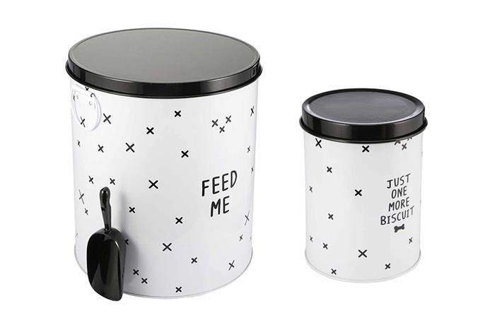 "Pet food storage tins, $8/5.5L and $15/19L, both [Kmart](https://www.kmart.com.au/|target=""_blank""|Rel=""nofollow"")."