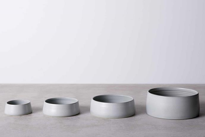 "Anchor Ceramics pet bowls in Mid Grey, $92/small, and Light Grey, $104/medium, both [Hub Furniture](http://www.hubfurniture.com.au/|target=""_blank""