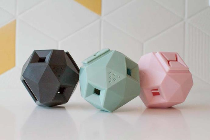 "'The Odin' treat dispensers in Blush and Mint, $29.95 each, [StyleDog](https://styledog.com.au/|target=""_blank""