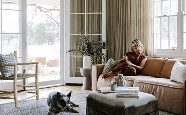 Inside Edwina Bartholomew's farm cottage in the Blue Mountains