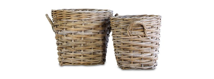 """'Grove' round baskets large, $55, and small, $40, [livingbydesign.net.au](https://livingbydesign.net.au/