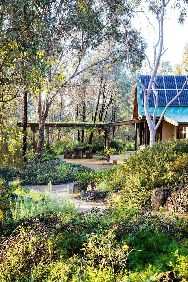 "Melbourne landscape designer, Sam Cox has shaped his [bushland garden](https://www.homestolove.com.au/a-bushland-retreat-30-minutes-out-of-melbournes-cbd-4883|target=""_blank"") to replicate a slice of nature. ""The masses of planting, mounding and boulders are balanced with the voids of pathways, ponds and pools,"" says Sam. The paths are made from Castlemaine slate."