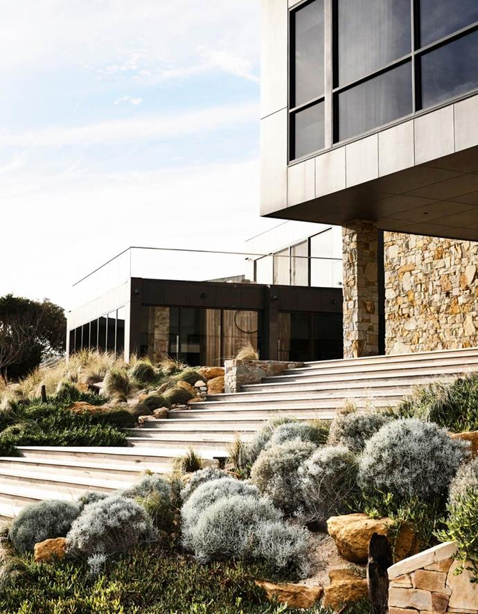 The fabulous planting scheme for this home on Victoria's Surf Coast is entirely indigenous, which was a requirement of the local council. Landscaping by Hansen Partnership. Home by FMD Architects.
