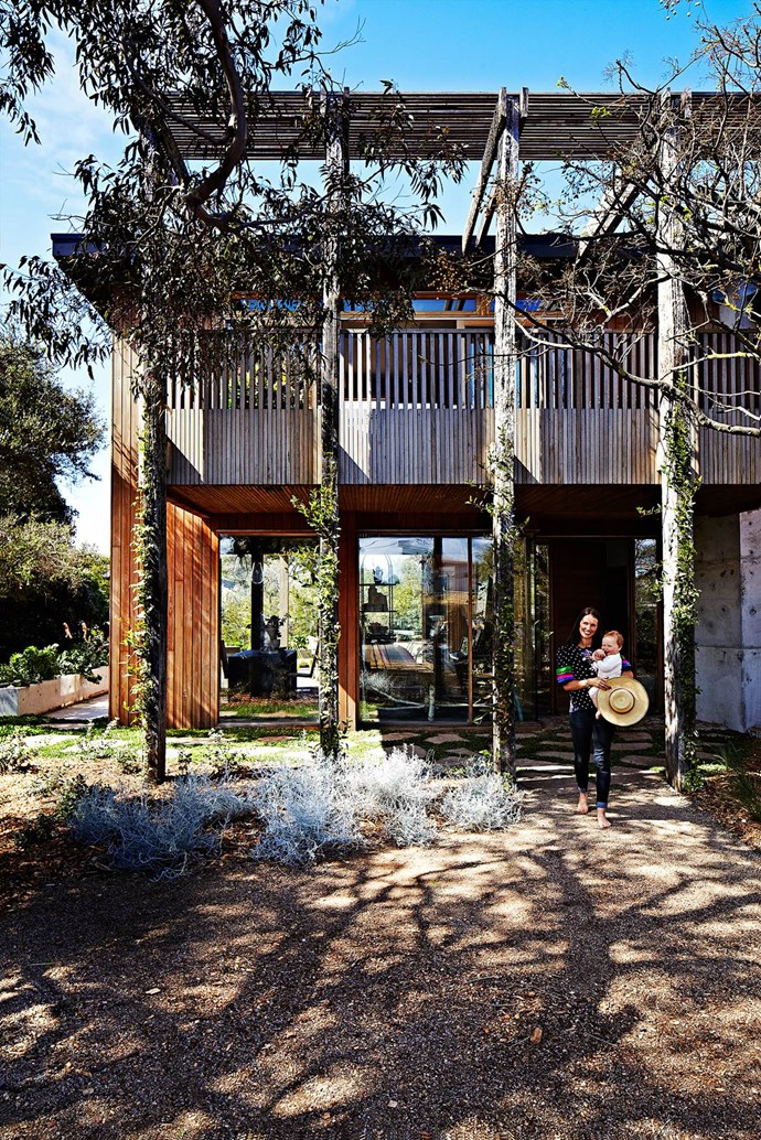 """The faded timber of [the beach house](https://www.homestolove.com.au/the-home-of-kip-and-co-co-owner-kate-heppell-3596