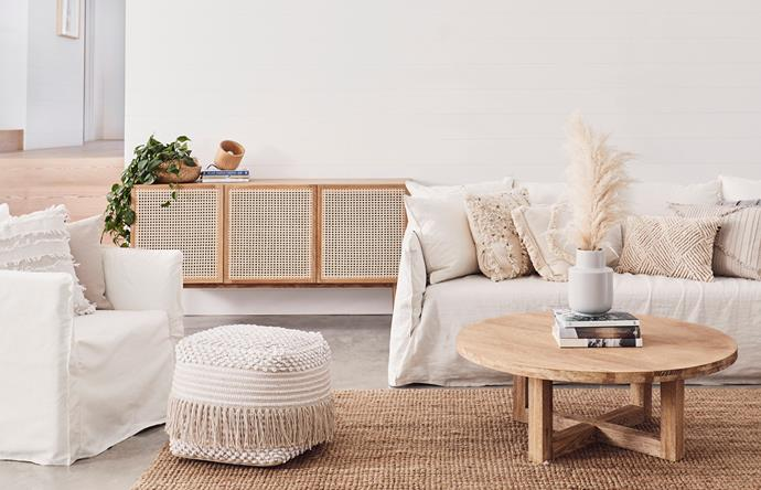 The 'Tara' sideboard from Lounge Lovers adds texture and warmth to this neutral living space.