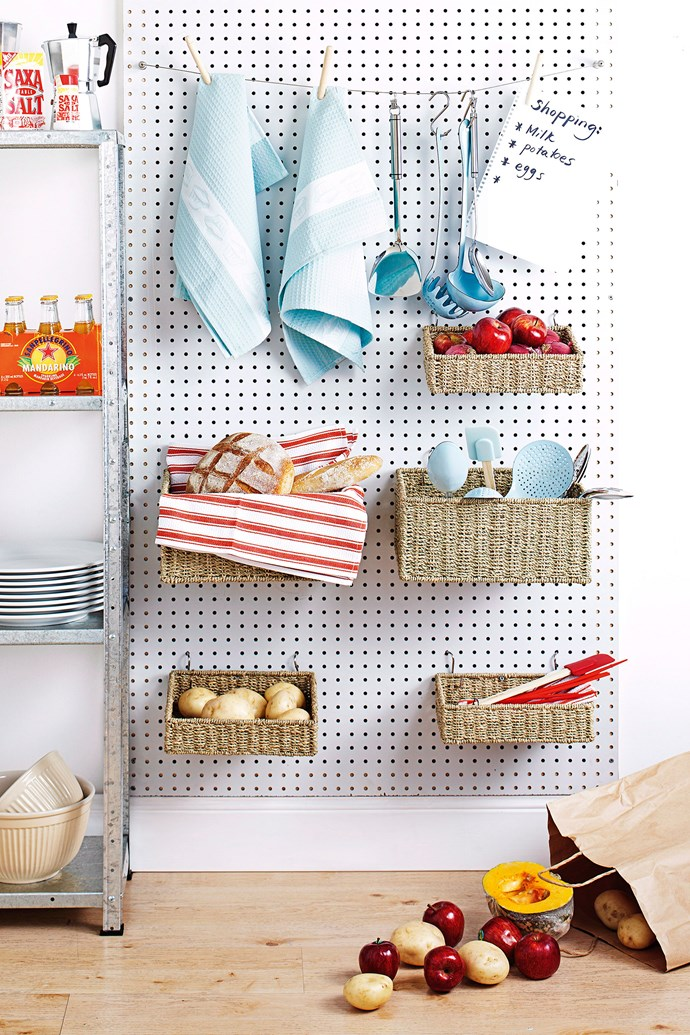 A pegboard is a great way to maximise vertical space in your kitchen. *Photo: John Paul Urizar / bauersyndication.com.au*