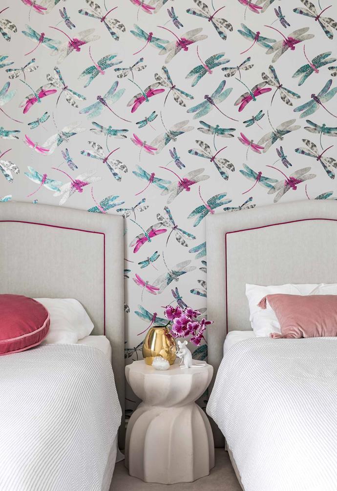 "**Edie's bedroom** Matthew Williamson's 'Dragonfly Dance' wallpaper from [Seneca Textiles](https://seneca.co.nz/|target=""_blank""|rel=""nofollow"") comes alive. Custom bedheads by Alexandra Kidd Design are split by a 'Wyatt' stool from [Coco Republic](https://www.cocorepublic.com.au/|target=""_blank""|rel=""nofollow""). Vase & trinket box, [Dinosaur Designs](https://www.dinosaurdesigns.com.au/|target=""_blank""|rel=""nofollow""). Mouse lamp, [Top3 By Design](http://top3.com.au/|target=""_blank""|rel=""nofollow"")."