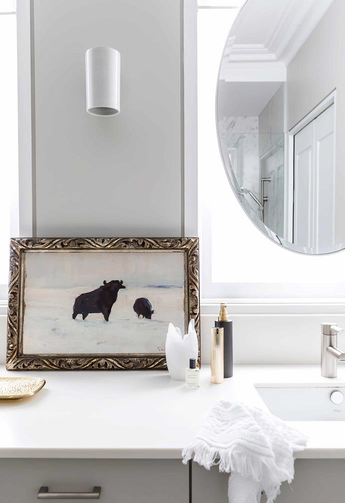 """**Star performer** The variety of lighting is a winner, with traditional, modern and industrial pieces. In the ensuite, Sophie and David chose 'Earth' wall lights from [Design Nation](https://designnation.com.au/
