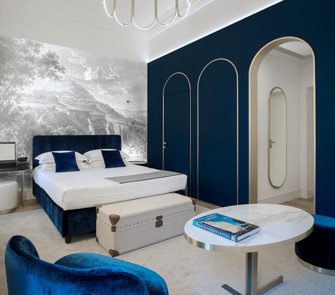 The Elizabeth Unique Hotel's Junior Suite is done out in its signature blue.