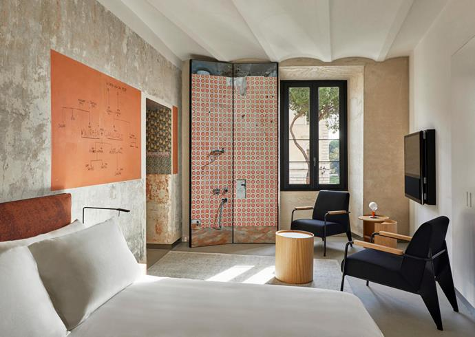 Rooms of Rome's streamlined fixtures contrast modern living and the old world.