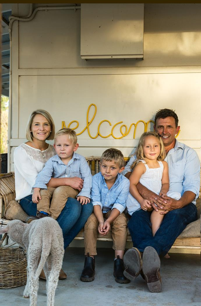 A family snapshot at the back entrance to the Curry home, with Sarah, Josh, Catherine and sons James and Ted.