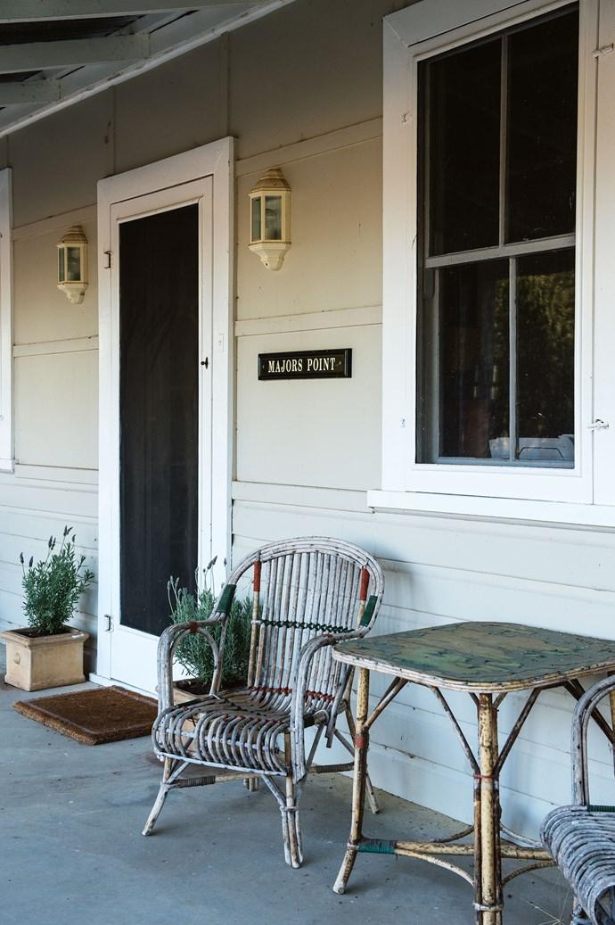 Sarah's grandmother's split-cane furniture resides on the home's verandah.