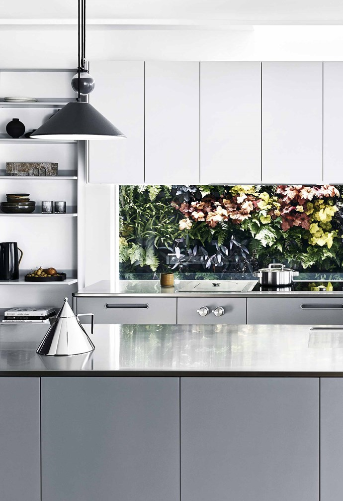 """**View in** The glass splashback allows the kitchen to take advantage of the lush natural scenery outside the home. Alessi 'conico' kettle, [Make Designed Objects](https://www.makedesignedobjects.com/ target=""""_blank"""" rel=""""nofollow""""). Iittala 'tools' casserole pot (on stove), [Make Designed Objects](https://www.makedesignedobjects.com/ target=""""_blank"""" rel=""""nofollow""""). Knife block (on rear bench), [Hunting For George](https://www.huntingforgeorge.com/ target=""""_blank"""" rel=""""nofollow"""")."""