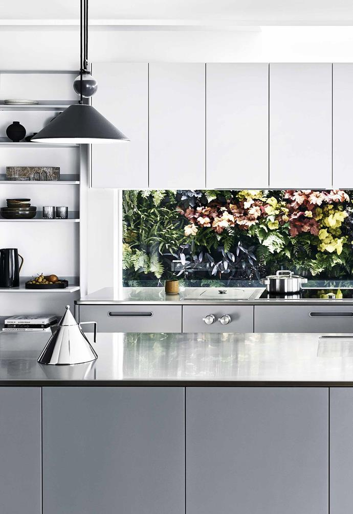 """**View in** The glass splashback allows the kitchen to take advantage of the lush natural scenery outside the home. Alessi 'conico' kettle, [Make Designed Objects](https://www.makedesignedobjects.com/