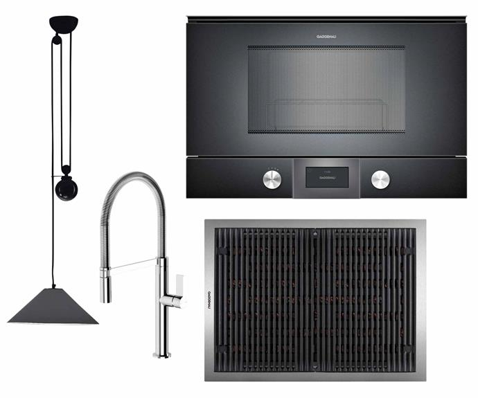 """**Keys to success** Durable finishes and innovative appliances give this kitchen a leading edge. **Get the look** (clockwise from left) 'Aggregato Saliscendi' pendant light in Dark Metal Grey, $743, [Artemide](https://www.artemide.com/home/