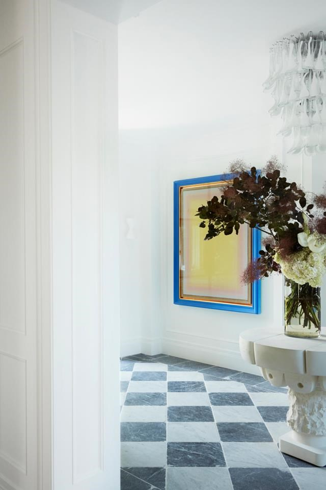 Interior designer Melissa Marshall and her husband bought an historic home in Sydney's eastern suburbs that was in need of a breath of fresh air. Melissa sourced furniture and art to create an eclectic mix of high-end and afforable pieces that provide a simple, stylish aesthetic. Artwork by Tomislav Nikolic. *Photograph*: Prue Ruscoe | *Styling*: Lucy Montgomery. From *Belle* April 2019.