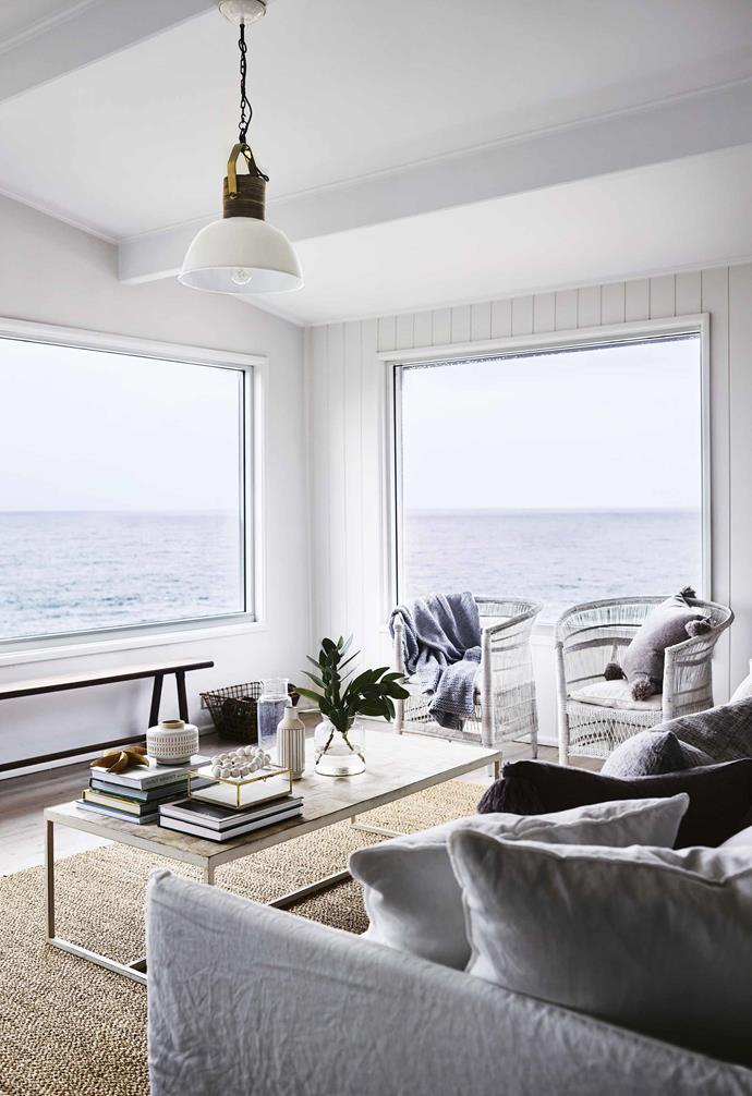 """**Maximise the views** """"When we purchased the house, it was incredibly rundown and had nothing to suggest it was a beachside home. We decided that the most important step in transforming it would be to paint the whole place white including [ceiling beam](https://www.homestolove.com.au/ceiling-types-15321