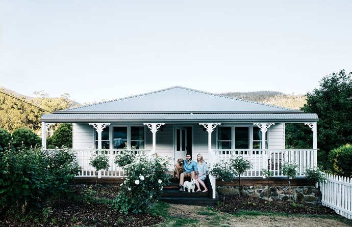 """Welcome to Crabtree Heights. The couple added a new deck to the verandah and planted [standard roses](https://www.homestolove.com.au/rose-varieties-australia-3218 target=""""_blank"""") to complement the storybook charm of their century-old weatherboard home."""