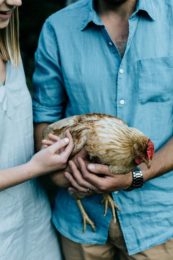 "The couple holding [one of their hens](https://www.homestolove.com.au/backyard-chickens-9470|target=""_blank""). Boz, 29, is also Huon born and bred. ""Boz's family had one of the biggest apple orchards, and I knew his stepsisters really well, but I didn't meet him until I was about 13. We were always in the same group, so we kept in contact, and we would see each other when we were out and about,"" she says. ""We got together nine years ago, and we've been married for two."""