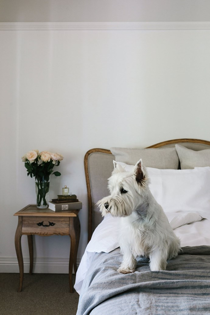 """Ted on the bed in the main bedroom. Since 2014, the couple have renovated inside and out, painting, rebuilding the verandah and adding to the garden. """"We've been chipping away, and I am really happy with the house, it's what I always had in mind. We love the lifestyle here, we love the fresh air, fresh food and nice-tasting water — all of our water comes from the rivulet."""" For a similar bed, try [Provincial Home Living](https://www.provincialhomeliving.com.au/ target=""""_blank"""")."""