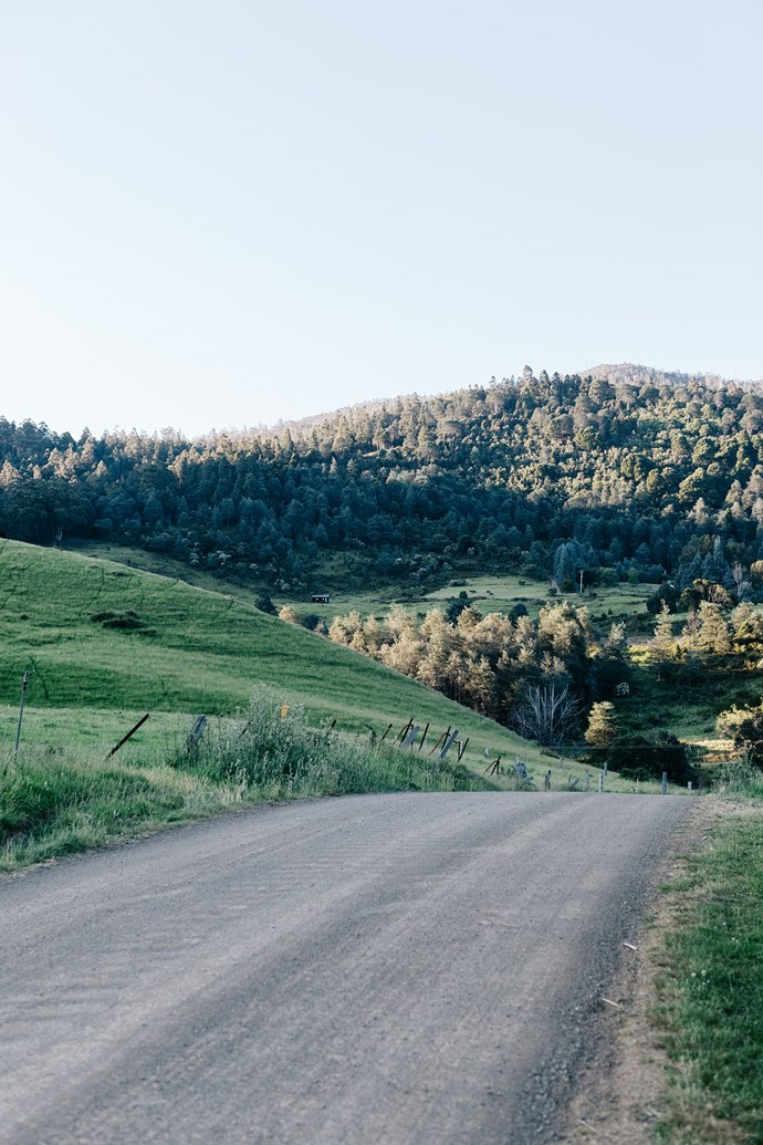 The quiet road leading out of Crabtree Heights at the base of the mountains.
