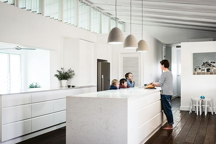 """Materials for the kitchen were chosen for durability: """"Little boys can be tough,"""" says Jayde."""