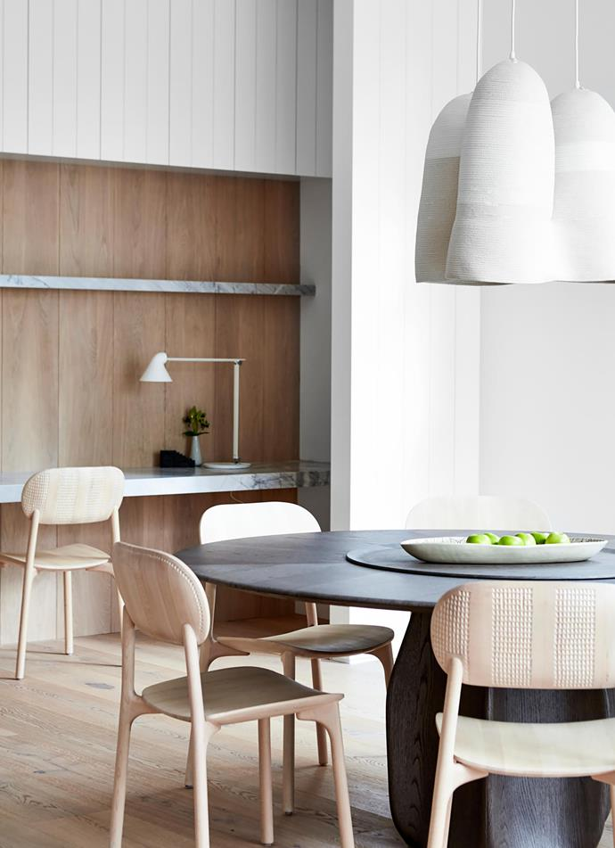Molteni&C 'Asterias' dining table by Patricia Urquiola from Hub. Doug Johnston woven pendant lights from Criteria. Louis Poulsen 'NJP' table lamp from Cult.