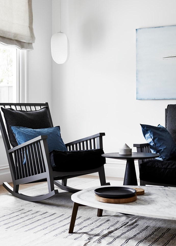 In the library is an artwork by Michael Semeniuk. Gervasoni rocking chair and armchair, both from Anibou. Rich Brilliant Willing 'Mori' pendant from Koda. When Objects Work vessels from Hub on a Baxter 'Vietri' coffee table from Criteria. Rug from Halcyon Lake.