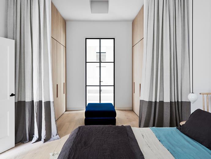 'April' ottoman in velvet from Zuster. Bed linen from Bedouin Societe. Curtains from Inside Edge.